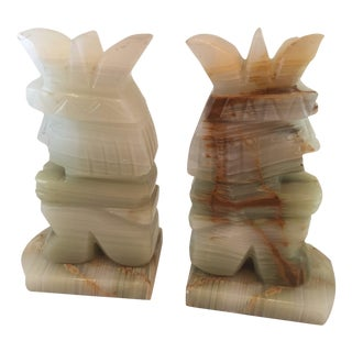 Vintage Aztec Hand Carved Stone Onyx Bookends - A Pair