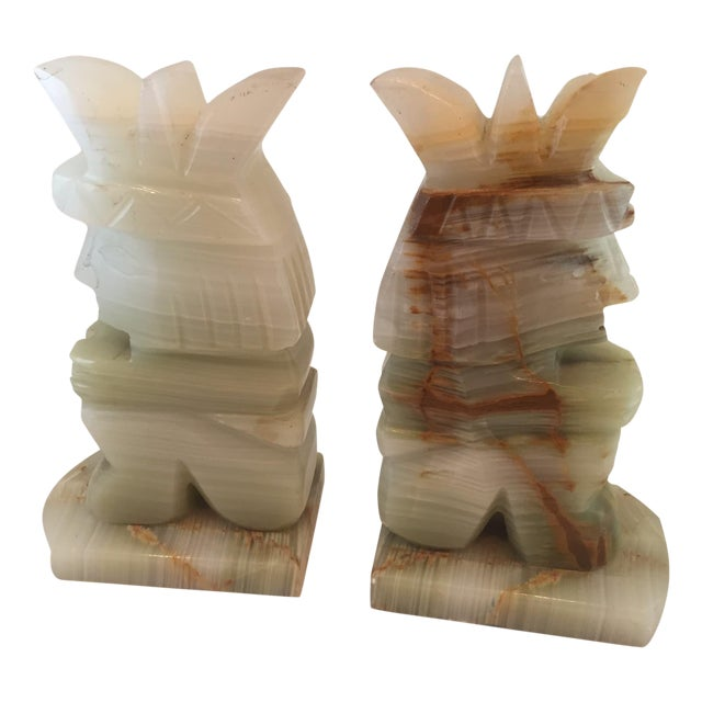 Vintage Aztec Hand Carved Stone Onyx Bookends - A Pair - Image 1 of 4