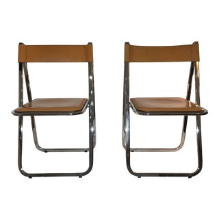 Italian Chrome and Leather Tamara Folding Chairs - a Pair