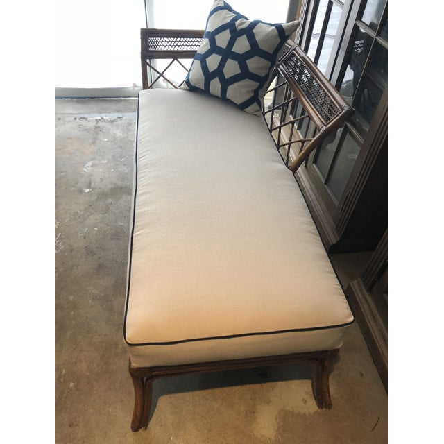 Bamboo & Linen Chaise For Sale - Image 9 of 10