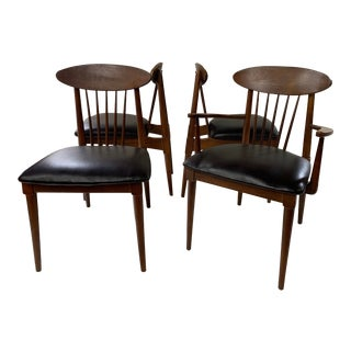 1950s Danish Modern Style Walnut Spindle Back Dining Chairs- Set of 4 For Sale