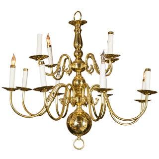 Twelve Light Brass Ball Form Chandelier