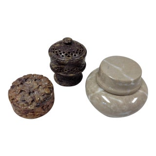 Vintage Mid-Century Mixed Stone Boxes - Set of 3 For Sale