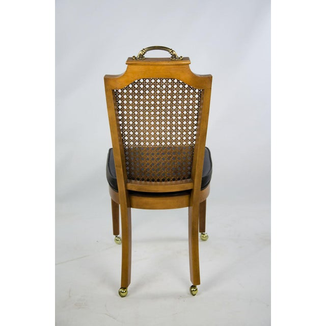 Late 19th Century French Regency Style Caned Back and Vinyl Dining Chairs - Set of 4 For Sale - Image 12 of 13