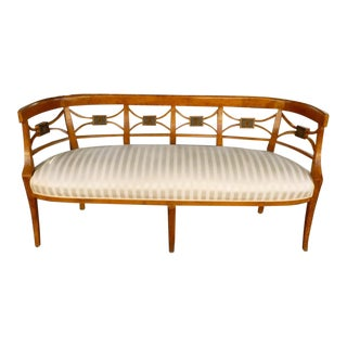 19th C Italian Neoclassical Fruitwood Settee For Sale