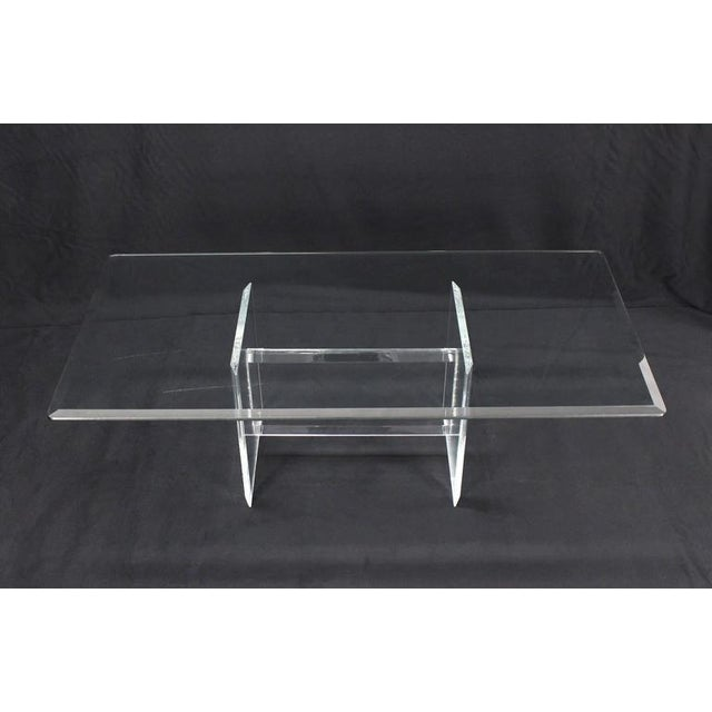 Lucite Base Glass Top Rectangular Coffee Table For Sale In New York - Image 6 of 7