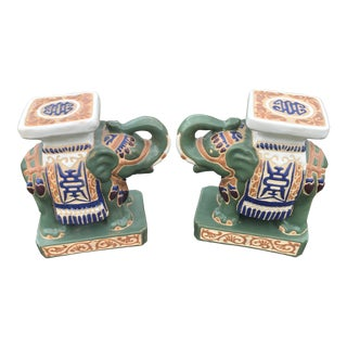 1970s Chinese Ceramic Elephant Bookends - a Pair For Sale