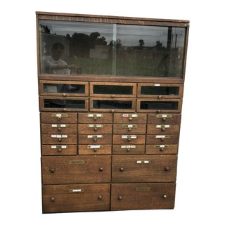 Large Vintage Industrial Wood Hardware Cabinet For Sale