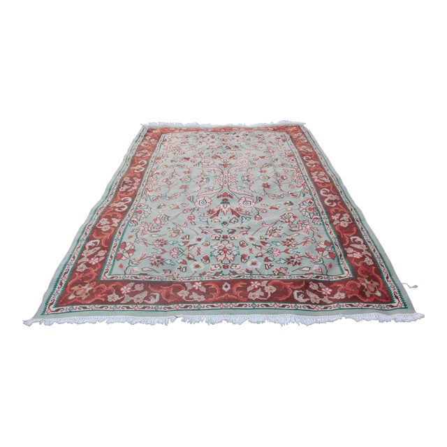 1950s Vintage Floral Wool & Cotton Kilim - 6′8″ × 9′4″ For Sale