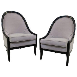 Pair of Ebonized Spoon Back Chairs For Sale