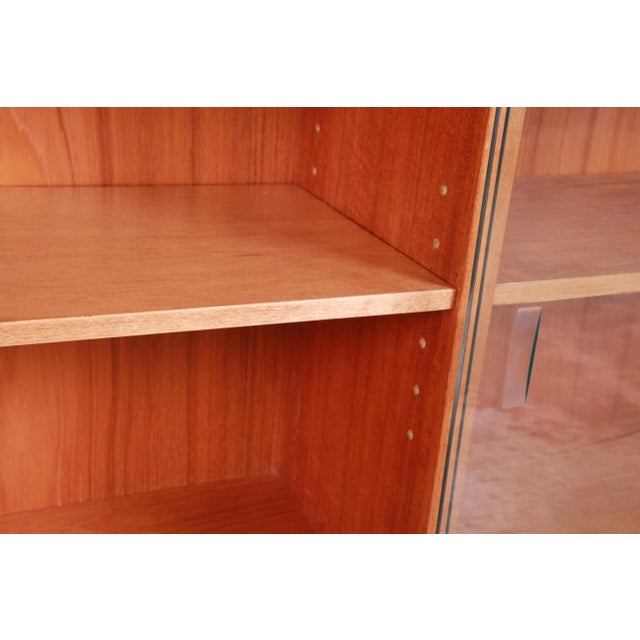 Danish Modern Teak Glass Front Credenza or Bookcase For Sale - Image 9 of 12