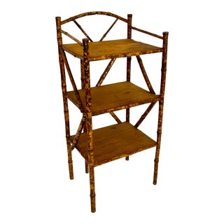 Antique English Scorched Bamboo Bookcase/Etagerè For Sale