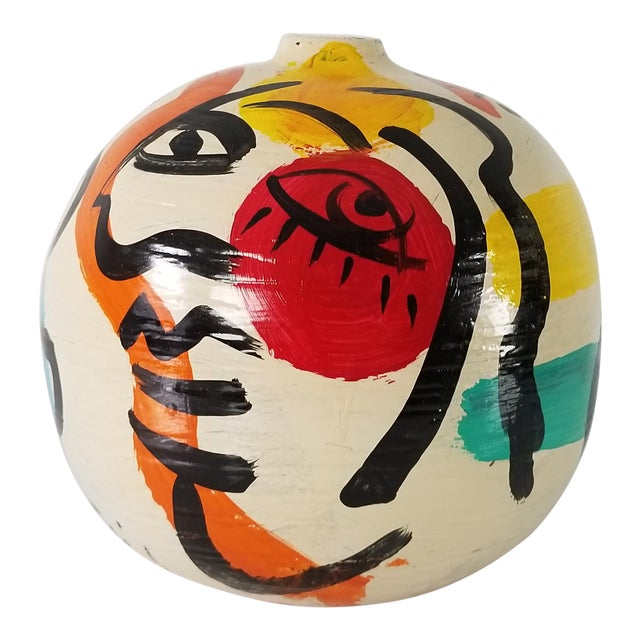 Peter Keil Abstract Painted Colorful Vase For Sale