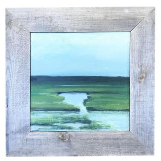 Late 20th Century Driftwood Marsh Scene Painting For Sale