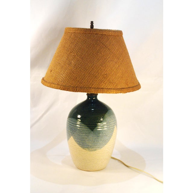 Mid-Century Blue & Tan Pottery Lamp - Image 2 of 7