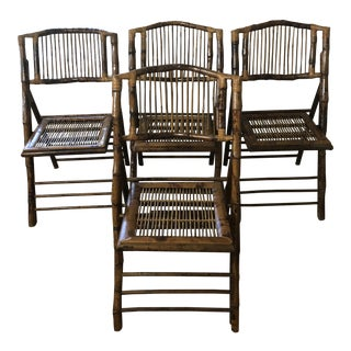 1950s Mid Century Modern Rattan Folding Chairs - Set of 4 For Sale