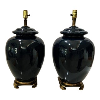 Vintage Pair of Ceramic Cobalt Blue Glazed Table Lamps For Sale