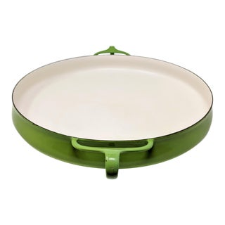 1955 Danish Modern Jens Quistgaard Dansk Ihq Kobenstyle Lime Green Paella Pan For Sale