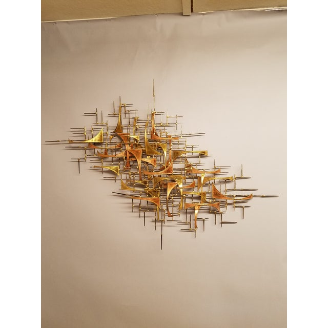 1970s 1970's Vintage Style of Jere Copper and Brass Brutalist Wall Sculpture For Sale - Image 5 of 5