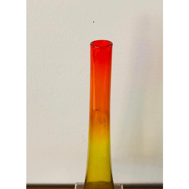 Orange 1959 Vintage Wayne Husted Blenko Glass Tangerine Vase For Sale - Image 8 of 10