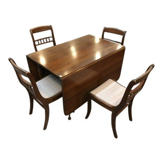 Mid-Century Modern Wooden Drop Leaf Dining Table Set - 5 Pieces For Sale