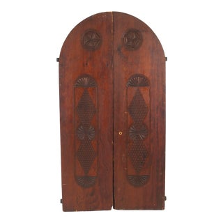 19th Century Moorish Pine and Wrought Iron Doors - Set of 2 For Sale
