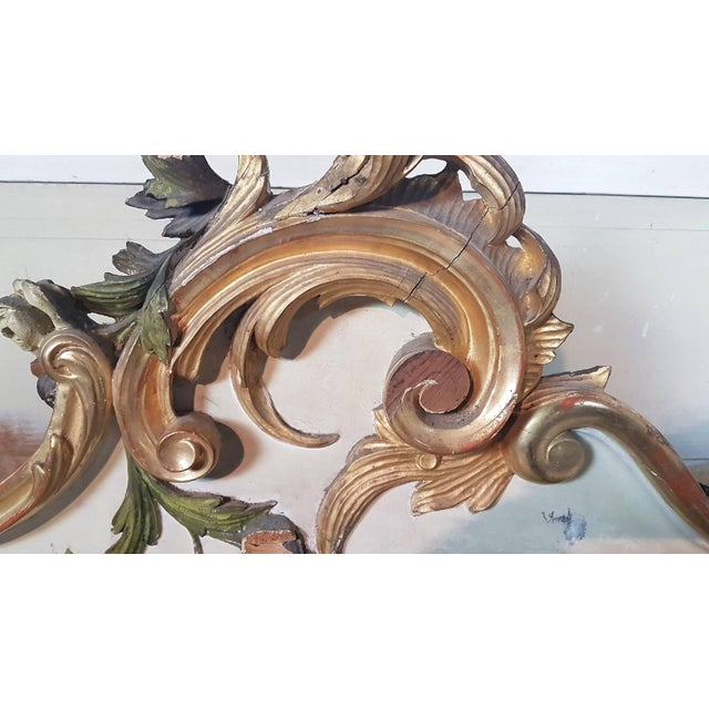 19th Century Italian Baroque Style Carved Lacquered Golden Wood Floor Mirror For Sale - Image 9 of 12