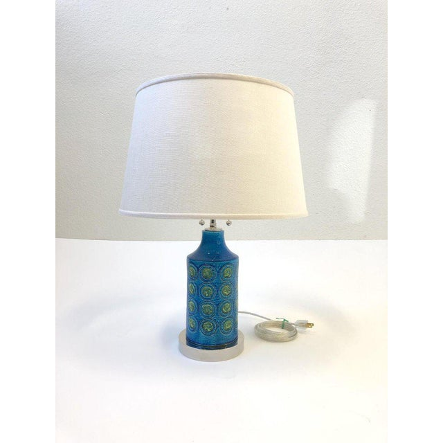 Ceramic Italian Ceramic and Nickel Table Lamps by Bitossi - a Pair For Sale - Image 7 of 10
