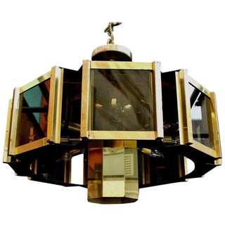 Vintage Mid Century Fredrick Ramond Signed Modern Brass and Smoked Glass Chandelier For Sale