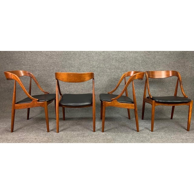 Here is a beautiful set of four 1960's scandinavain modern dining chairs in walnut designed by Johannes Andersen and...