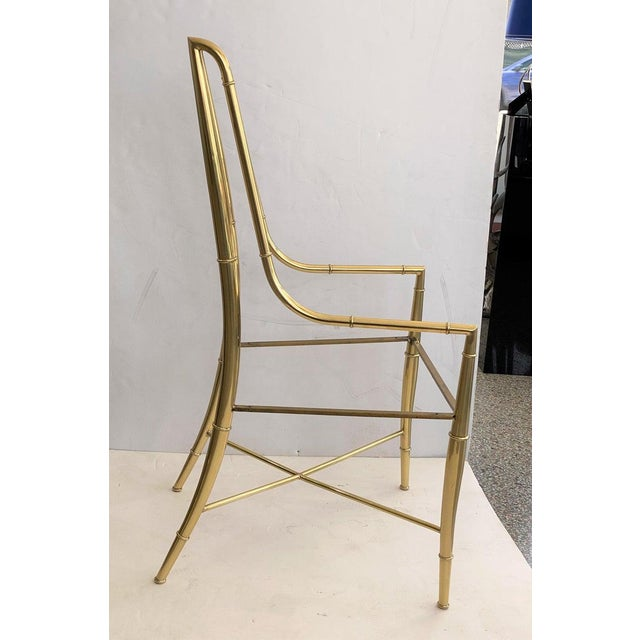 """Metal Mid-Century Modern Weiman/Warren Lloyd for Mastercraft """"Imperial"""" Brass Dining Chairs With White Ultrasuede Upholstery - a Set of 10 For Sale - Image 7 of 13"""