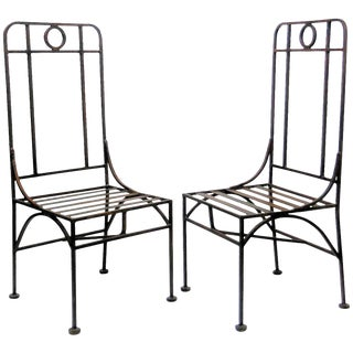 Giacometti Style Bronze Patina Occasional or Dining Chairs For Sale