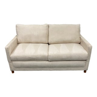 Full Size Micro Fiber Cream Loveseat Sleeper For Sale