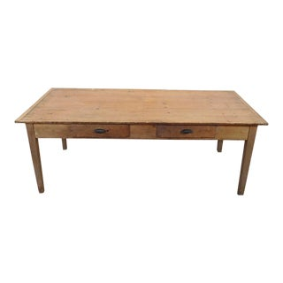 Primitive Rustic Pine Dining Room Table For Sale