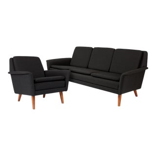 Folke Ohlsson for Dux Danish Modern Black Sofa & Lounge Chair - 2 Pc. Set