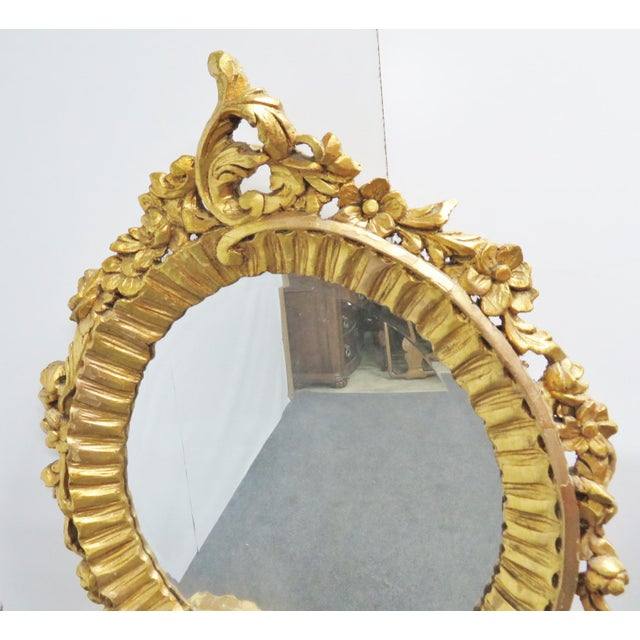 Italian Baroque Carved 3 Section Wall Mirror For Sale - Image 4 of 5