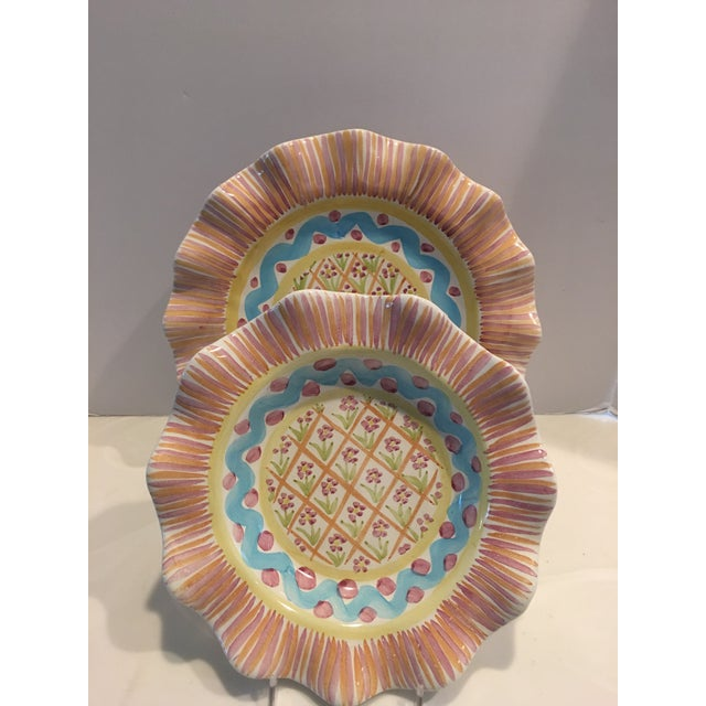 """Whimsical Victoria & Richard """"Summer Frock"""" by MacKenzie Childs. You will receive one scalloped plate and one bowl. Hand..."""