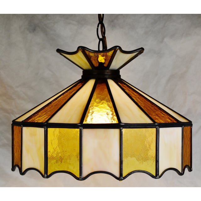 Vintage Tiffany Style Leaded Glass Pendant Light Chandelier For Sale - Image 12 of 13