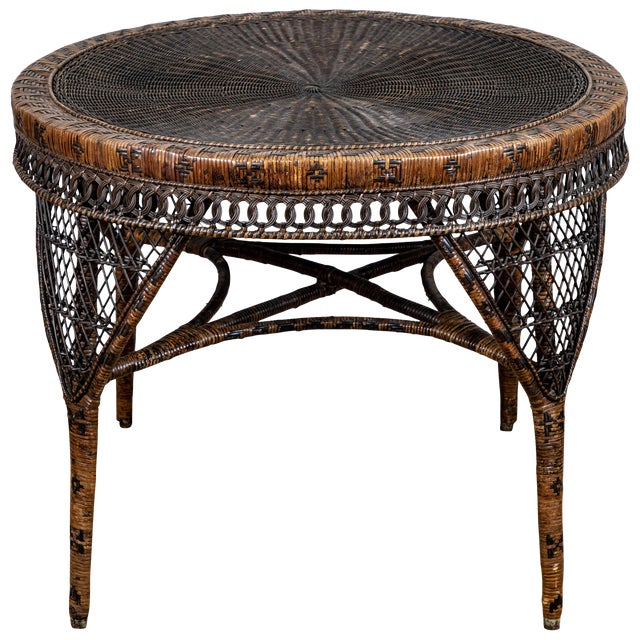 Victorian Wicker Round Side Table For Sale