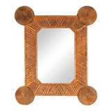 Image of Unusual Mirror With Intricate Bamboo Surround For Sale