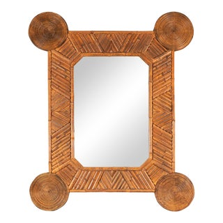 Unusual Mirror With Intricate Bamboo Surround For Sale