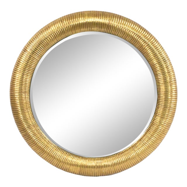Round Gold-foiled Ribbed Mirror For Sale