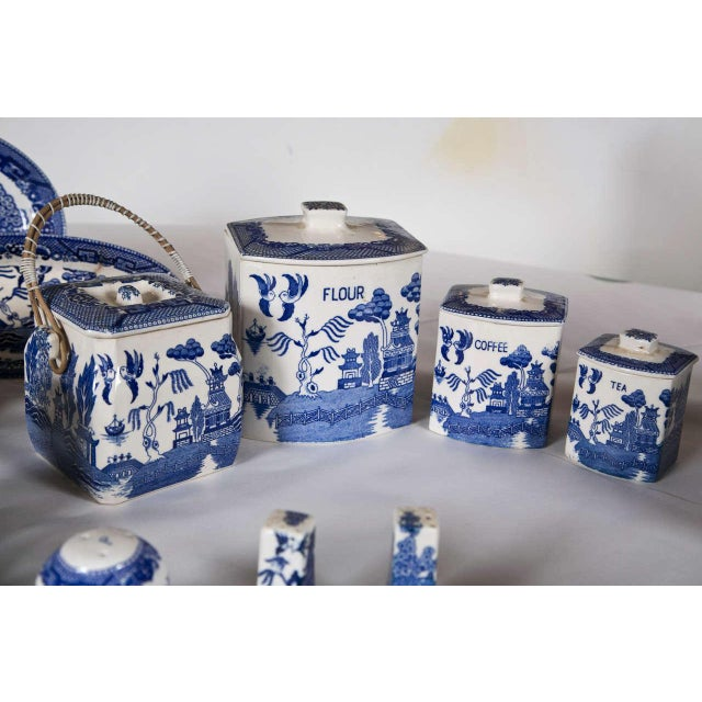 Mid 20th Century Vintage Collection of Blue and White Willow - Set of 40 For Sale - Image 5 of 12