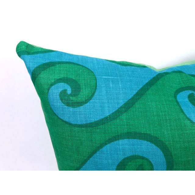 Green Vintage Blue and Green Sea Scroll Pattern Pillows Hand Printed by Elenhank - a Pair For Sale - Image 8 of 12