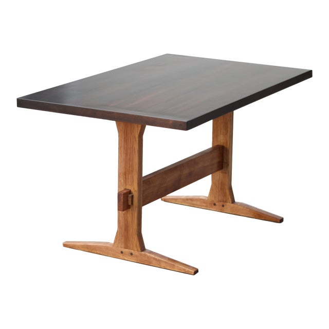 Rustic Solid Wood Knockdown Farmhouse/Trestle Table in Walnut Stain For Sale