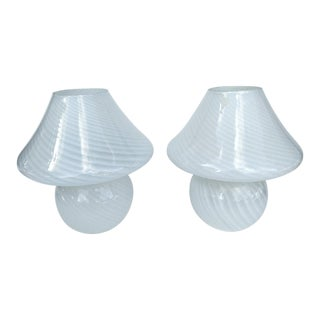 Murano Art Swirled White Glass Mushroom Lamps - a Pair For Sale