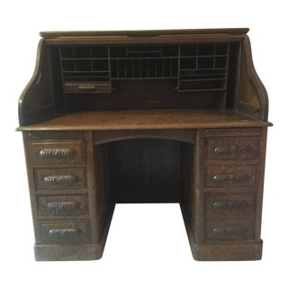 19th Century American Classical RollTop Desk For Sale