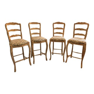 French Country Bar Stools - Set of 4 For Sale