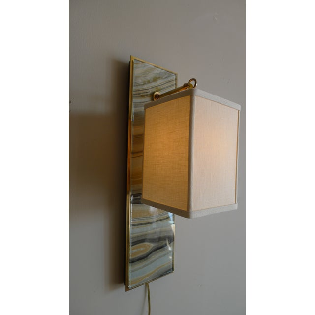 Modern Modern Brass and Marbleized Wall Sconce V1 by Paul Marra For Sale - Image 3 of 8