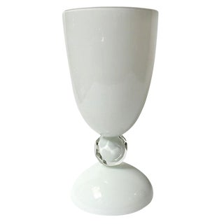 Italian White Murano Glass Urns or Vases For Sale